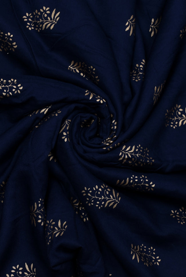 Navy Blue Gold Plant Print Rayon Fabric