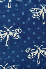 Blue Butterfly Print Indigo Cotton Fabric