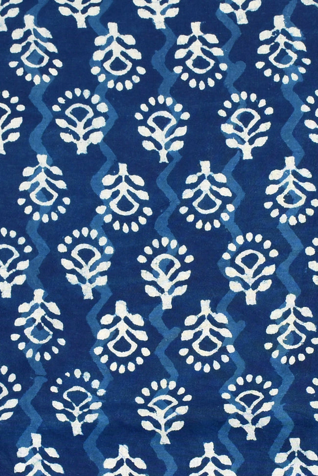 Blue Flower Print Indigo Cotton Fabric