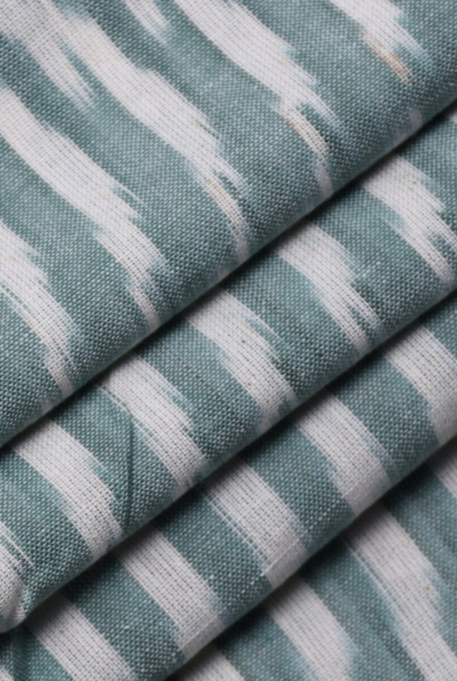 Light Grey Stripes Print Ikat Fabric