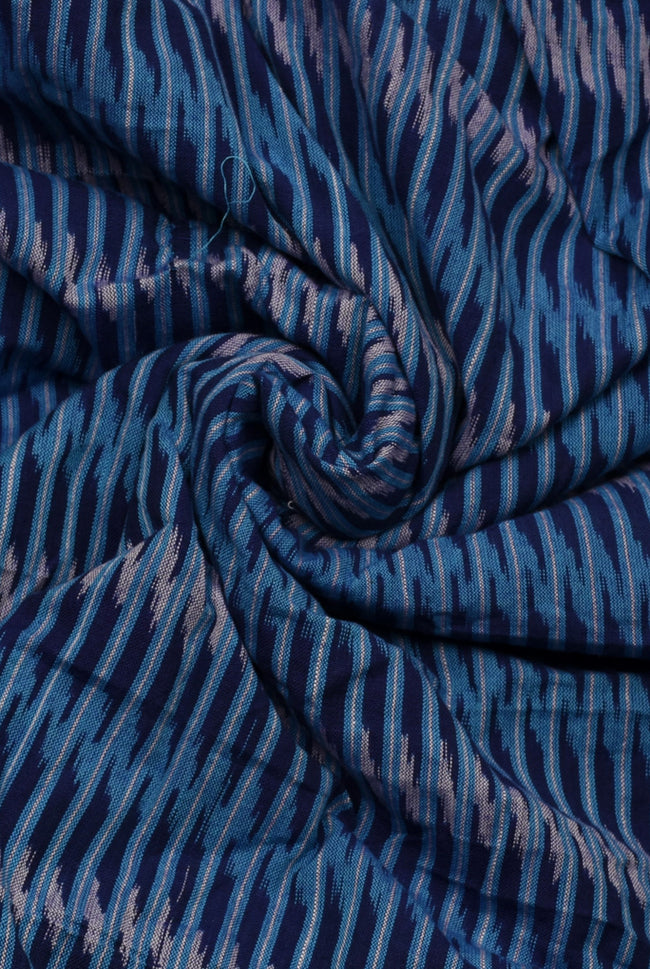 Blue and Grey Stripes Print Ikat Fabric