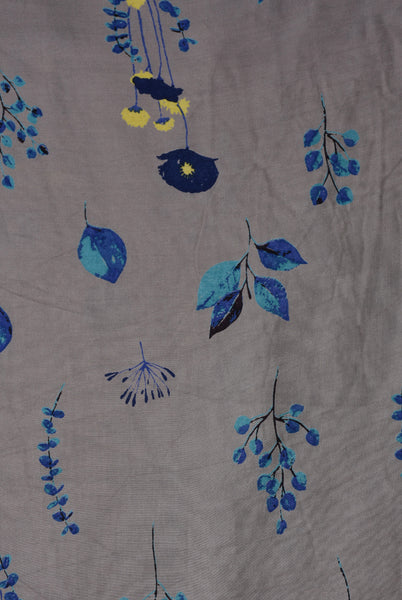Grey Blue Flower Print Rayon Fabric