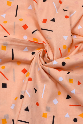 Peach Geometric Print Cotton Fabric