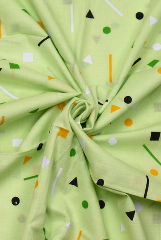 Light Green Geometric Print Cotton Fabric