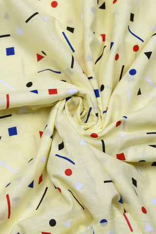 Cream Geometric Print Cotton Fabric