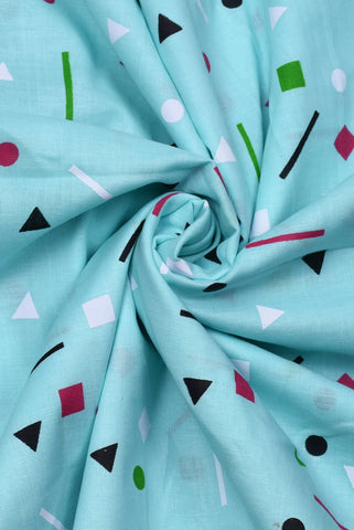 Sky Blue Geometric Print Cotton Fabric