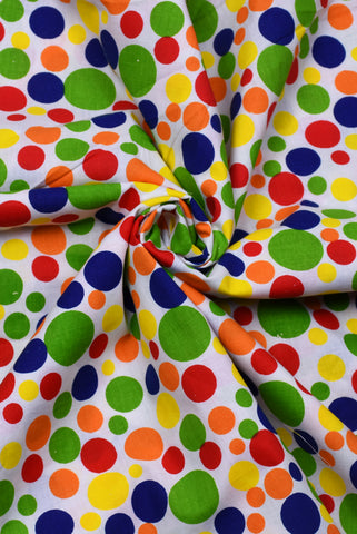 Multi Color Polka Dots Print Cotton Fabric