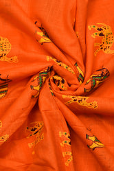 Orange Elephant Print Cotton Fabric