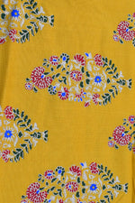 Yellow Gold Flower Print Rayon Fabric