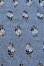 Grey Gold Print Cotton Fabric