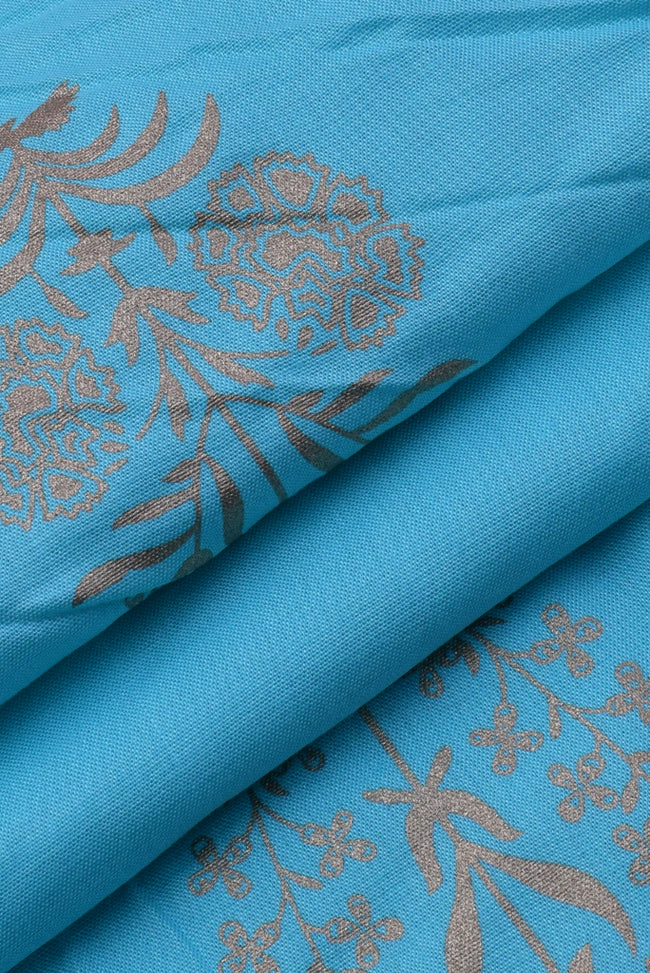 Light Blue Flower Printed Rayon Fabric