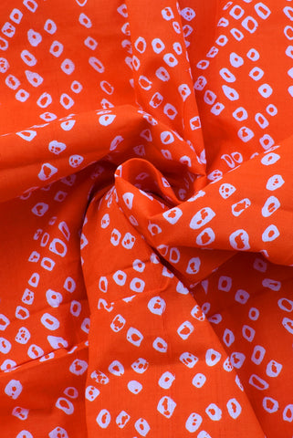 Orange Bandhej Print Cotton Fabric
