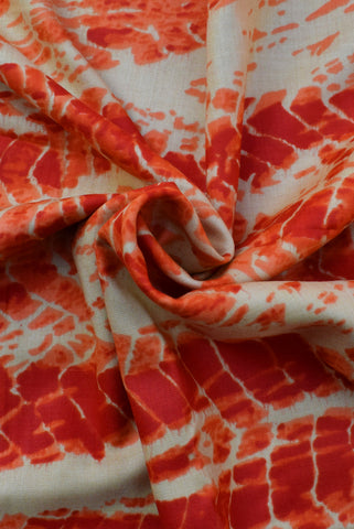 Orange Tie & Dye Print Rayon Fabric