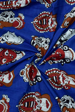 Blue Face Print Cotton Fabric