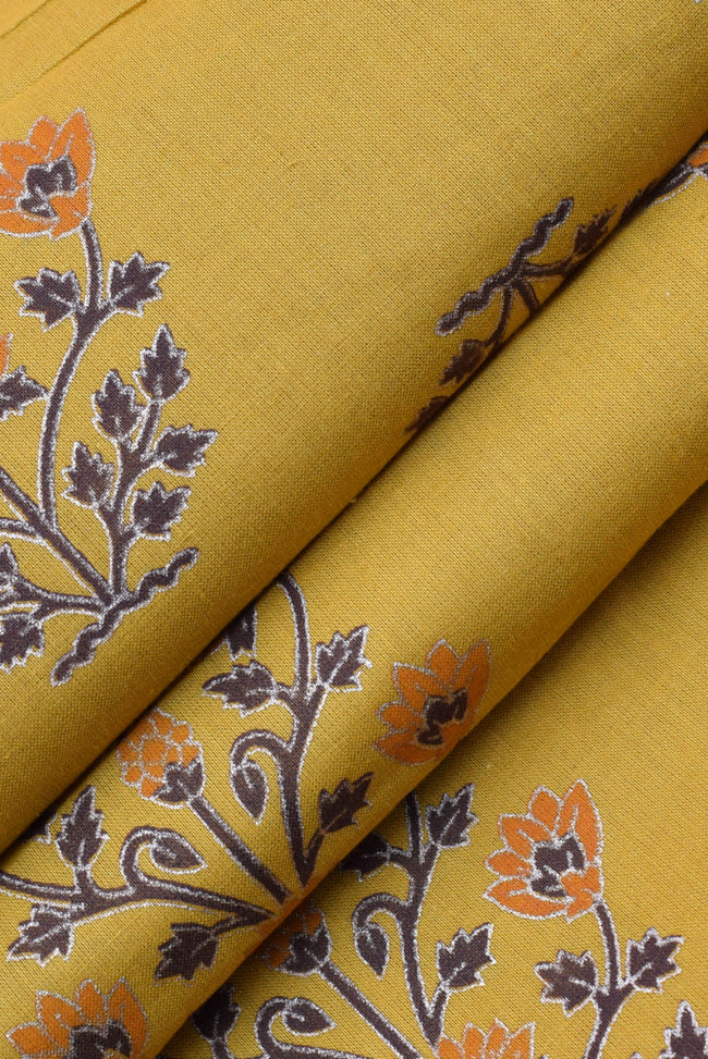 Mustard Flower Print Cotton Fabric