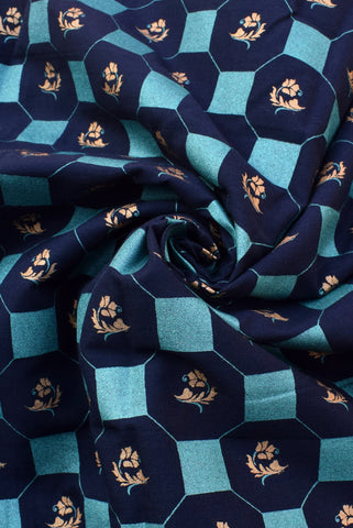 Dark Blue Gold Print Cotton Fabric
