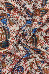 Multi Color Musical Instruments Print Cotton Fabric