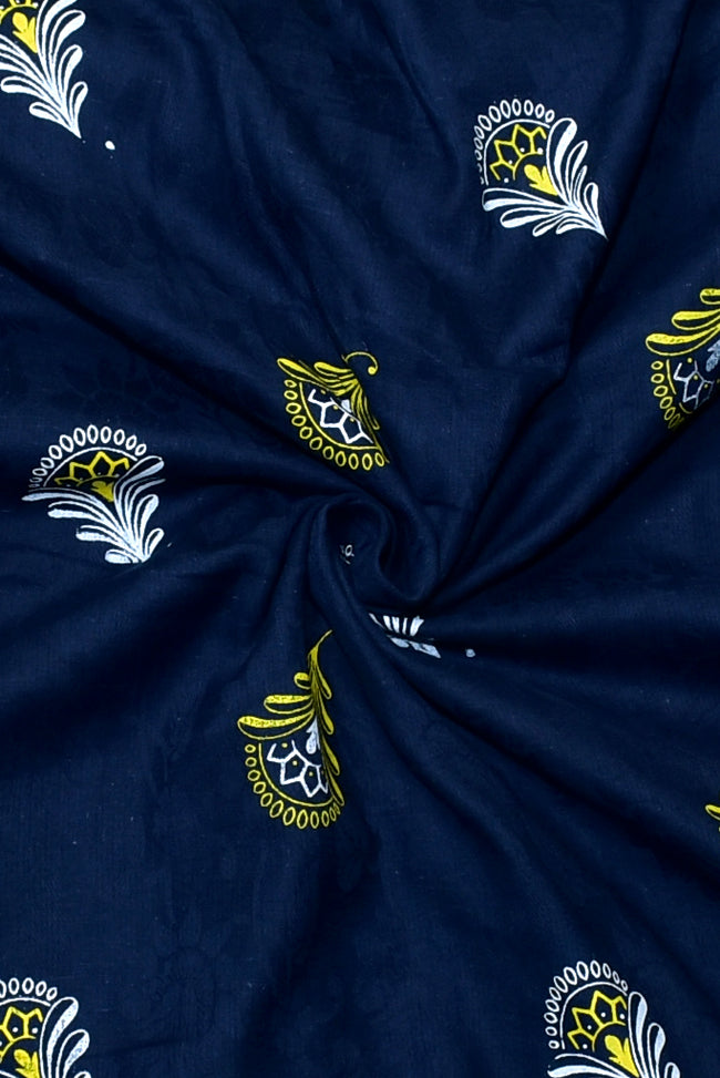 Blue Leaf Print Jacquard Fabric