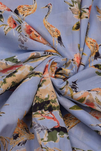 Sky Blue Duck Print Screen Cotton Printed Fabric