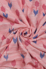 Pink Leaf Print Cotton Fabric