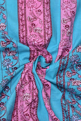 Blue & Pink Flower Print Cotton Fabric