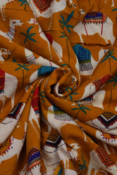 Yellow Camel Print Handblock Fabric