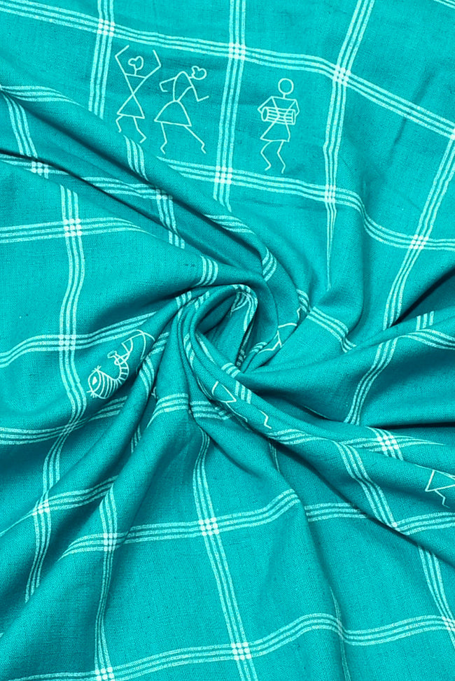 Iris Blue Stripes Print Cotton Fabric