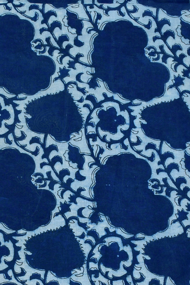 Blue Leaf Print Indigo Cotton Fabric