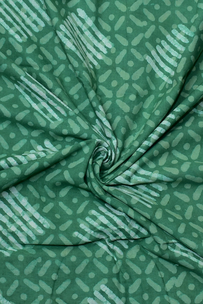 Green Printed Cotton Fabric
