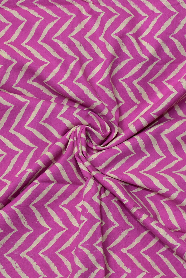 Pink Stripes Print Handblock Fabric