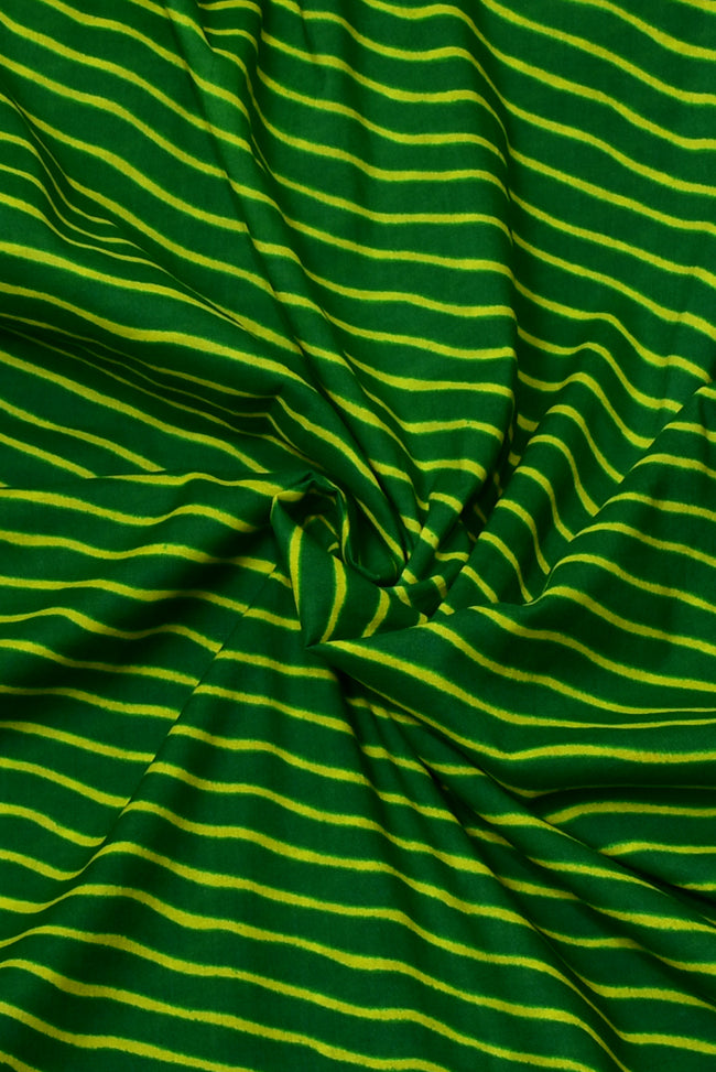 Green Stripes Print Cotton Fabric