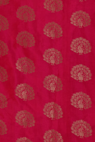 Pink Flower Print Jacquard Silk Fabric