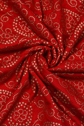 Red Bandhej Gold Print Rayon Fabric