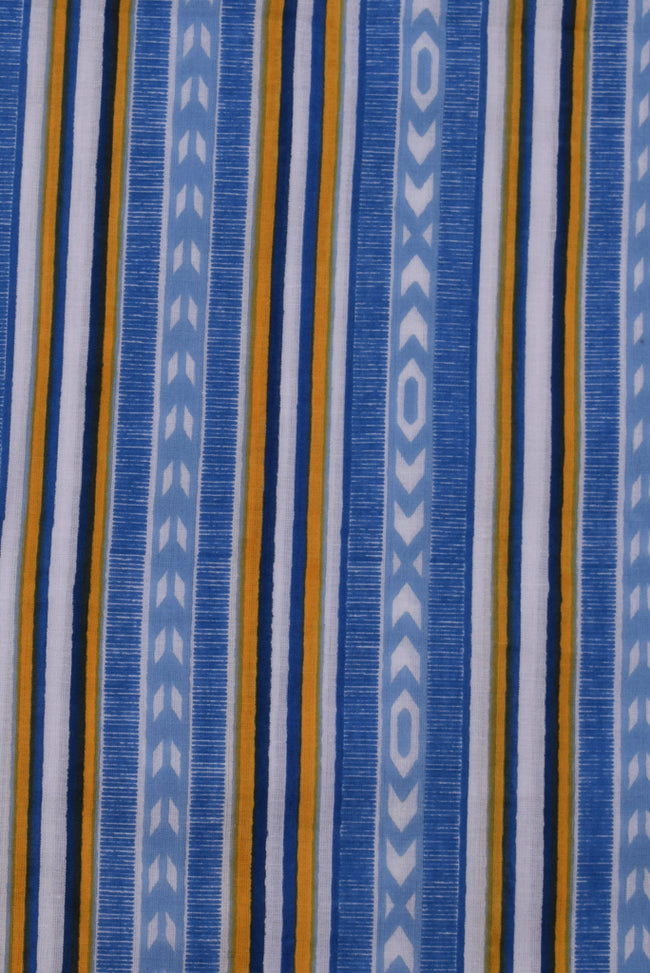 Blue Lining Print Cotton Screen Printed Fabric