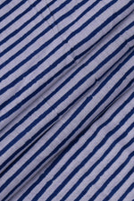 Blue & White Lining Print Cotton Fabric