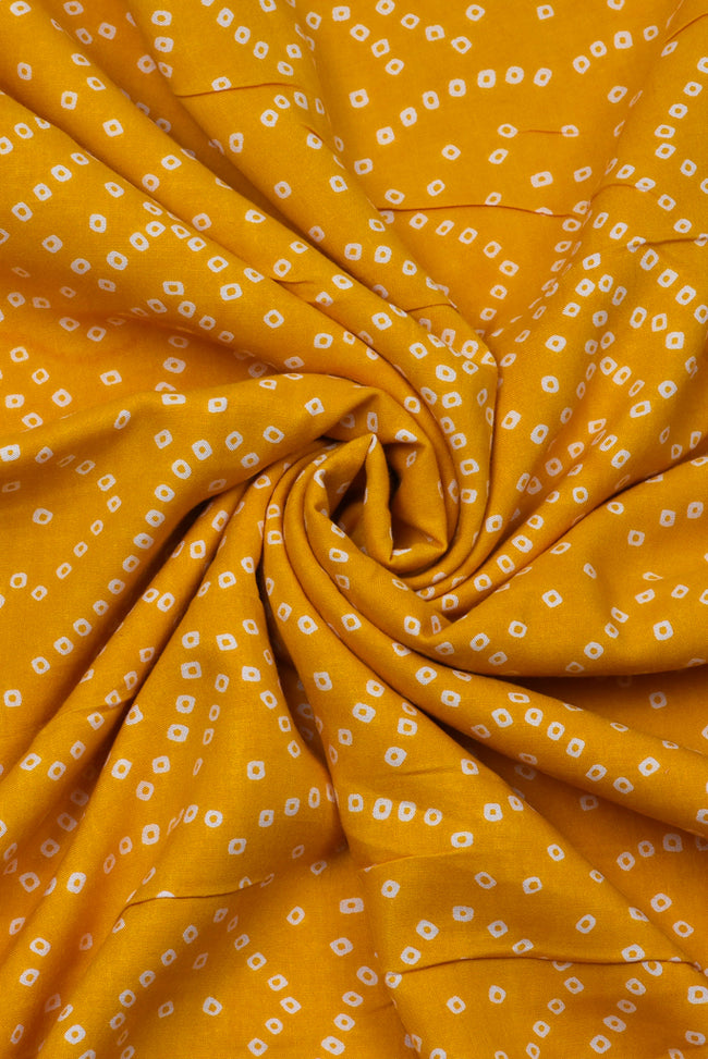 Yellow Bandhej Print Rayon  Fabric