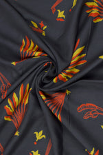 Dark Grey Rayon Print Fabric