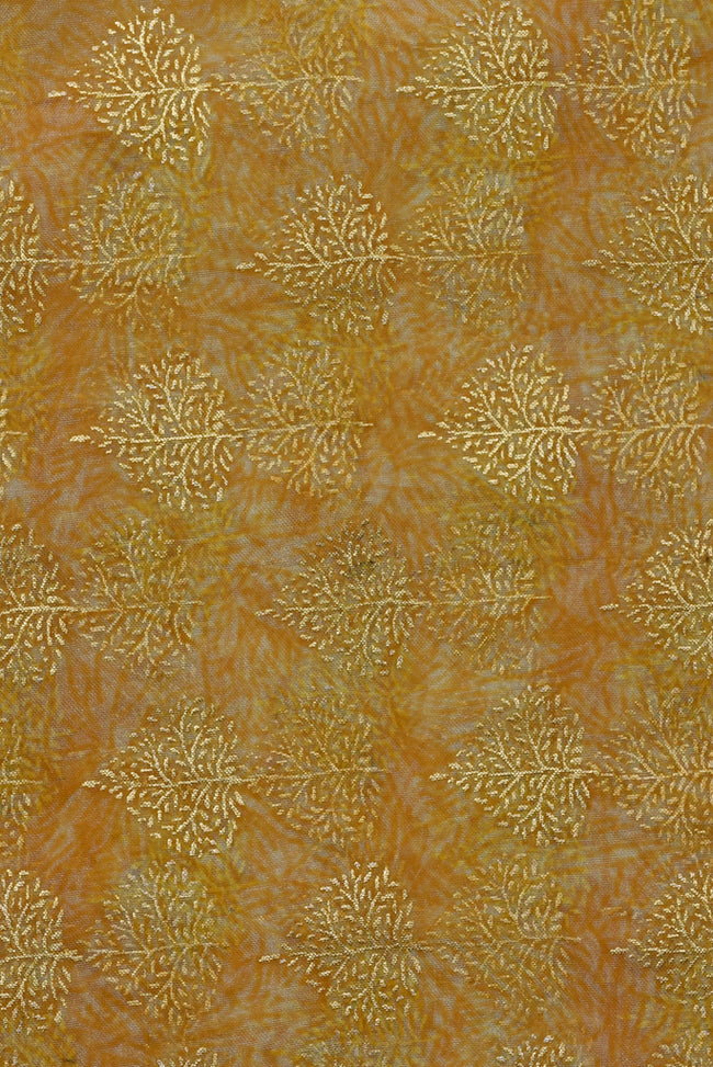 Gold Leaf Organza Silk Fabric