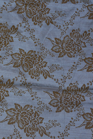 Grey Flower Taffeta Bamboo Silk Fabric