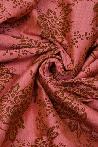 Golden Peach Flower Taffeta Bamboo Silk Fabric