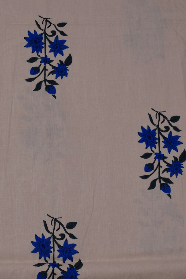 Beige Blue Flower Print Cotton Fabric