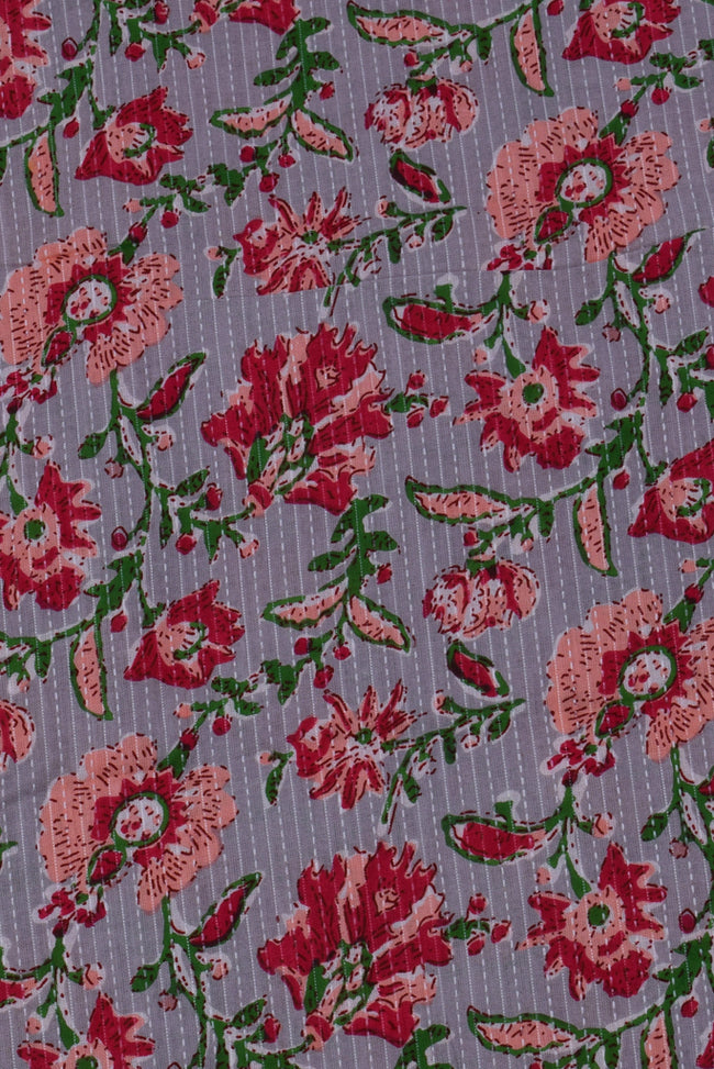 Light Maroon Flower Printed Kantha Fabric