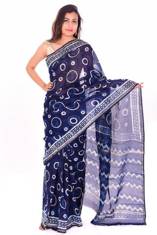 Blue & White Polka Dot Chanderi Silk Handblock Printed Saree