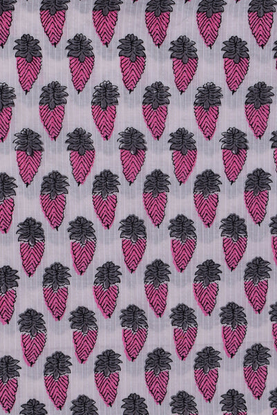 White Hand Block Print Cotton Fabric
