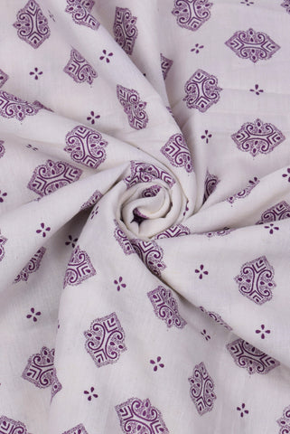 Purple Handblock Printed Rayon Fabric