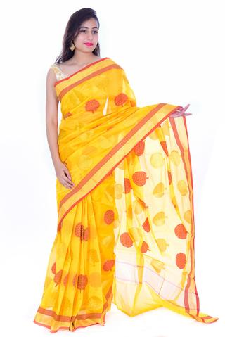 Yellow with red n golden Tree Kanchan Muga Silk Saree