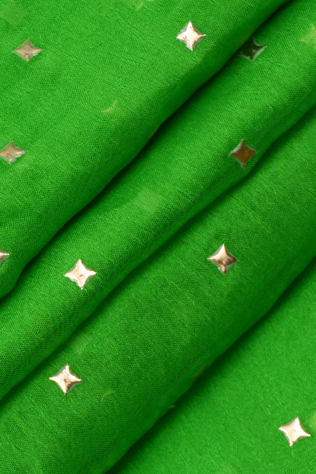 Forest Green Star Print Chiffon Fabric