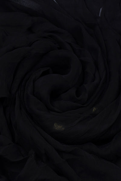Black & Gold Border Chiffon Fabric