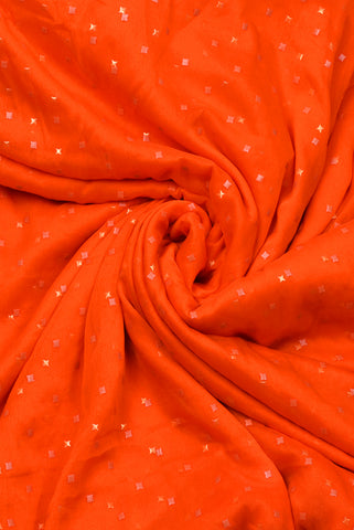 Orange Star Print Chiffon Fabric