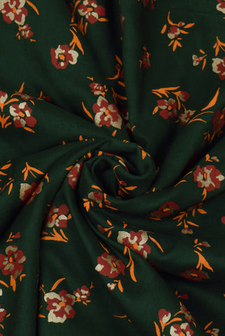 Green  Flower Print Screen Cotton Printed Fabric